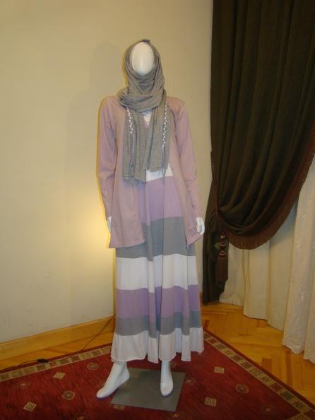 Purple, grey dress