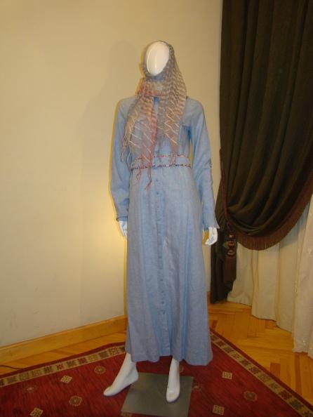 Light blue linen Abaya